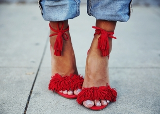 shoes pom poms beautiful red coral shoes red shoes shorts girl girly lace up girly wishlist red high heels red heels tie up heels fringes