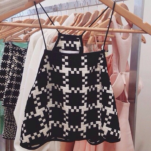 singlet top checkered black and white high neck designer style
