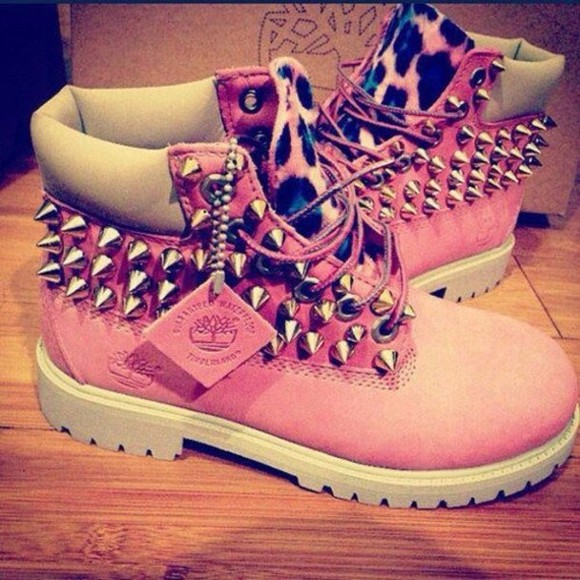 shoes pink spiked shoes timberlands lepard print ,