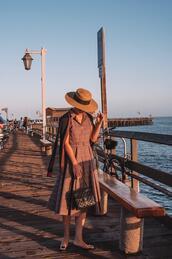 hallie daily,blogger,dress,cardigan,hat,bag,vintage,chanel bag,fall outfits