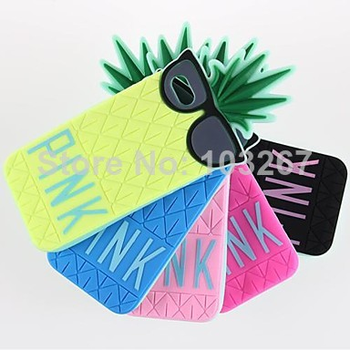 Free Shipping Pineapple Wearing Glasses Silicone Soft Case Cover for iPhone 5c (Assorted Colors)-in Phone Bags & Cases from Electronics on Aliexpress.com