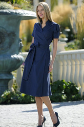 dress,wrap dress,office outfits,blue dress,midi dress,pointed toe pumps,pumps,spring outfits