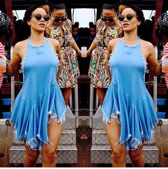 distress rihanna rihanna style short short dress spring summer summer dress halter top sexy blue top frayed denim