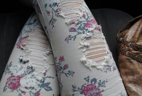 jeans floral white jeans ripped jeans floral jeans
