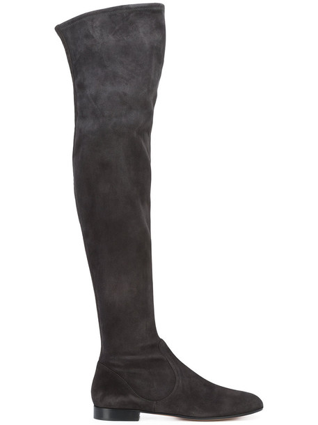 Gianvito Rossi women over the knee suede boots leather suede black shoes