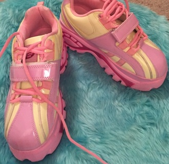 shoes pink purple yellow kawaii shoes kawaii pastel pastel shoes pastel goth cute platform shoes