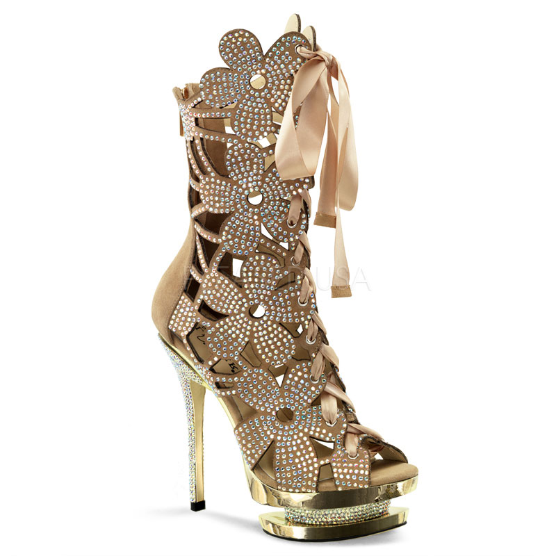 1020 blush suede/gold chrome flower ankle boot