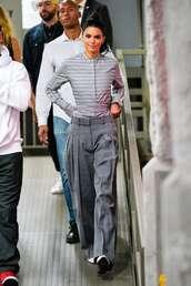 top,kendall jenner,kardashians,pants,grey,stripes