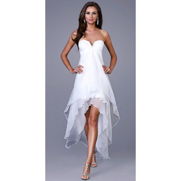 v-neck dress white dress high-low dress strapless layered dress empire waist chiffon dress