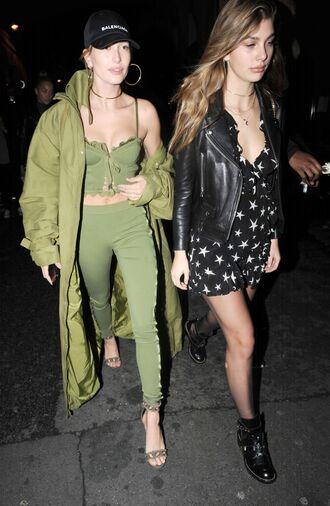pants top green coat hailey baldwin model off-duty streetstyle paris fashion week 2017 fashion week 2017 crop tops bustier crop top bustier