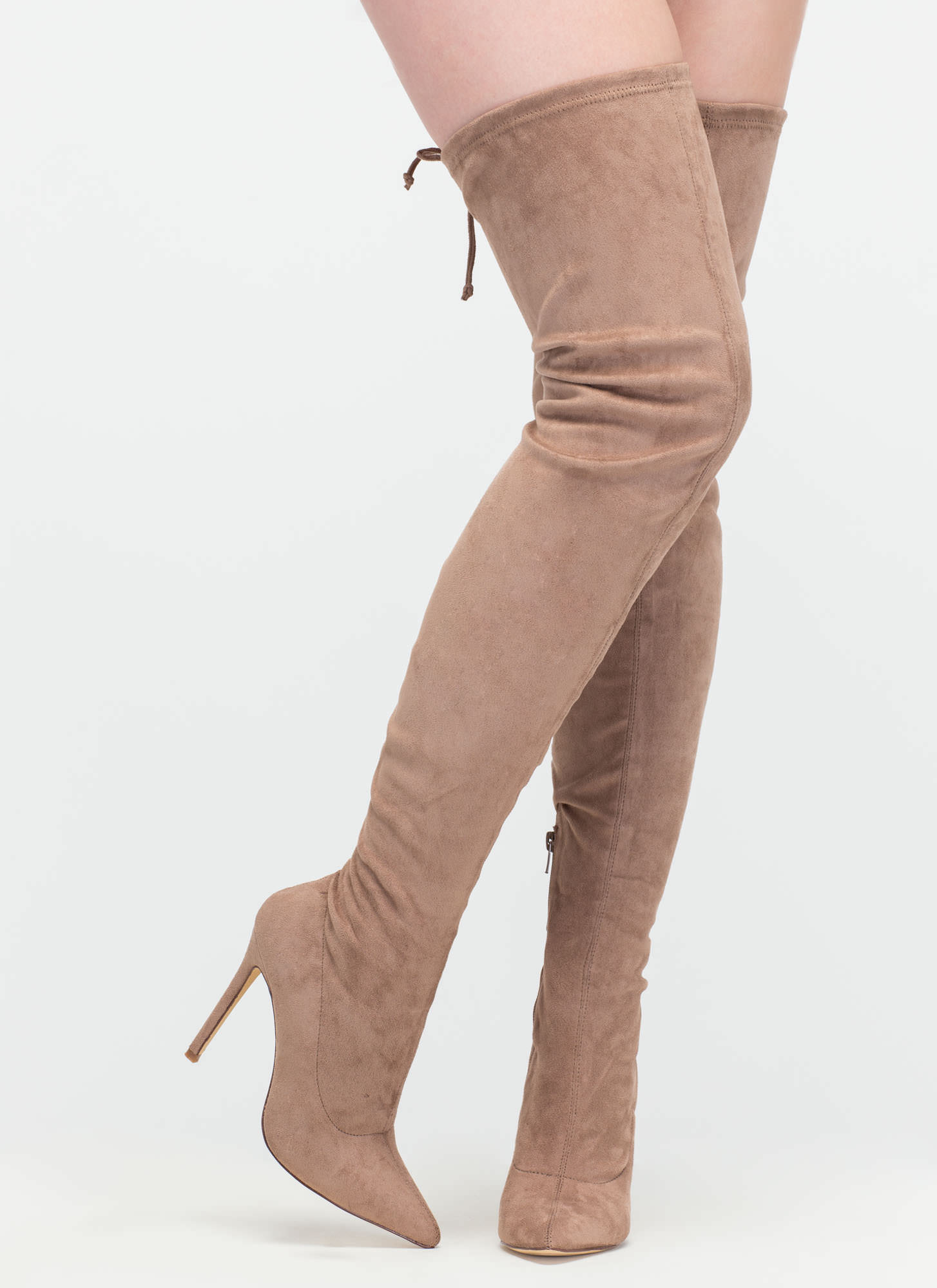 98b44073269 Crush Hard Faux Suede Thigh-High Boots OLIVE GREY NUDE ...