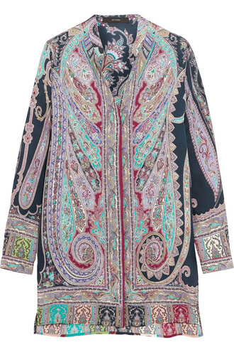 tunic print silk paisley purple top