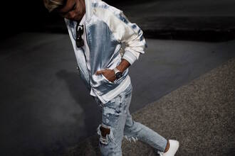 alexander liang blogger jacket t-shirt jeans shoes sunglasses jewels