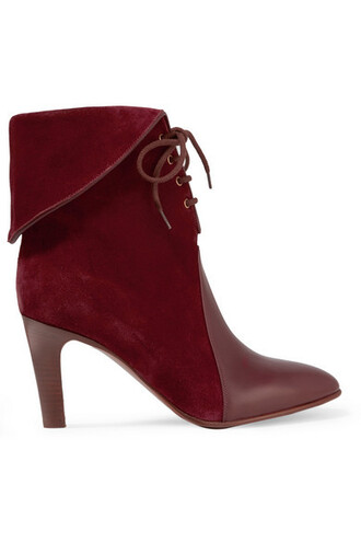 suede ankle boots boots ankle boots leather suede burgundy shoes