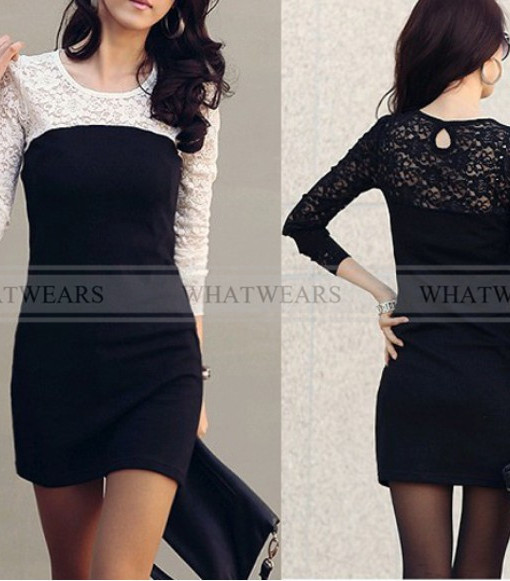 Free Shipping Women's Slim Round Neck Spell Color Long Sleeve Lace Package Hip Dress [2 70-3492] | Amazing Shoes UK