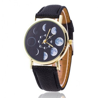 jewels watch moon fashion style black accessories boogzel