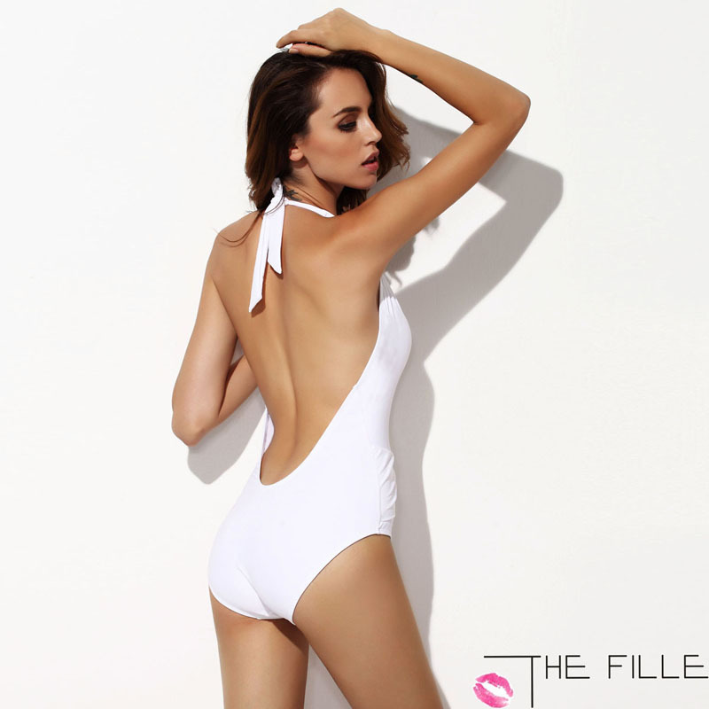 New 2014 Summer Women Fashion Nylon White Swimwear Sexy Deep V Neck One Piece Swimsuit Monokini Bathing Suits Free Shipping-in One Pieces from Apparel & Accessories on Aliexpress.com | Alibaba Group