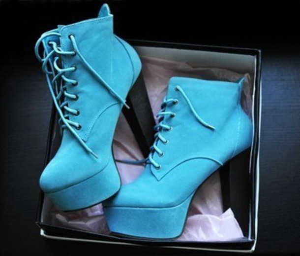 shoes blue heels boots laces weheartit