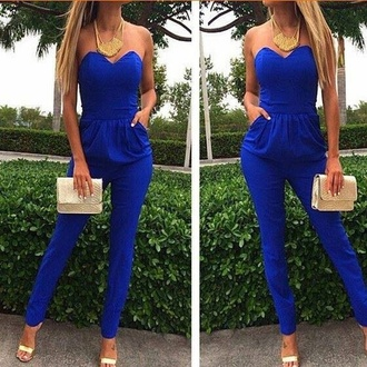jumpsuit blue dress prom dress belt red dress blue jumpsuit