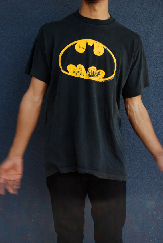 Shirt / dc comics / superhero / black & yellow / classic / excellent condition / distressed bat logo / punk industrial
