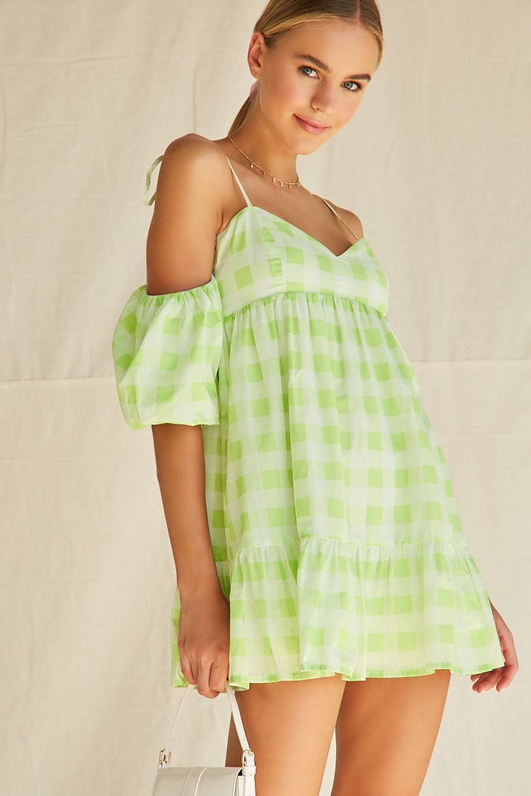 Buffalo Plaid Puff Sleeve Mini Dress