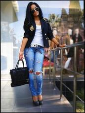 jeans,blue jeans,bag,belt,jacket,shoes,sunglasses,tank top,ripped,blue,denim pants,black jacket,white top,black belt,sun,sexy,fashion,classy,big bag