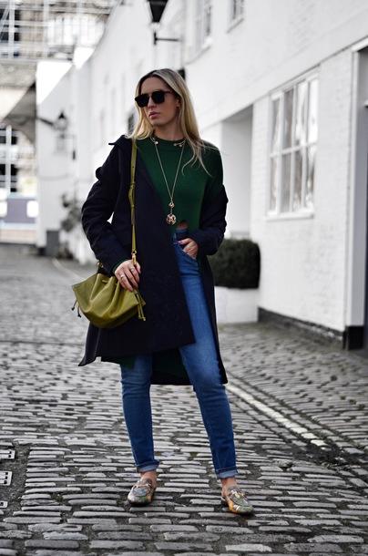 camila carril blogger top coat bag shoes sunglasses navy coat shoulder bag green top green bag loafers