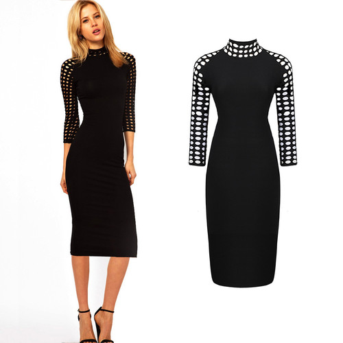 Women's Sexy Hollow Out Neck 3/4 Sleeve Pencil Party Dress Slim UK Size 6-14   Amazing Shoes UK