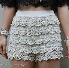 VINTAGE BEIGE TIERED CROCHETED SCALLOPED HEM HIGH WAISTED SHORTS 8 10 12 | eBay