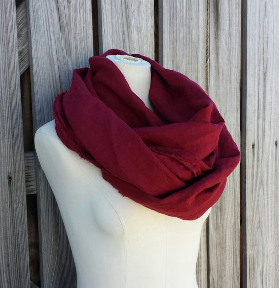 Burgundy Scarf  Long Maroon Scarf  Natural Eco by TomieHarlene
