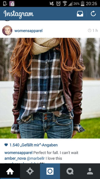 jacket brown jacket leather jacket brown leather jacket stylish slim skinny pants helpmetofindit wheretoget? blouse where did u get that t-shirt squared checkered