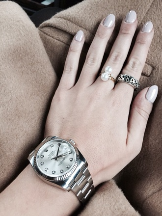 nail accessories rolex ring silver pearl classy