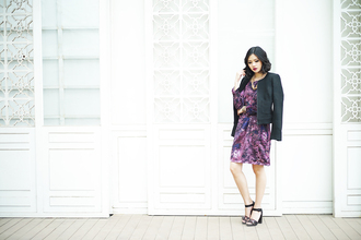 olivia lazuardy blogger dress shoes black jacket purple dress sandals