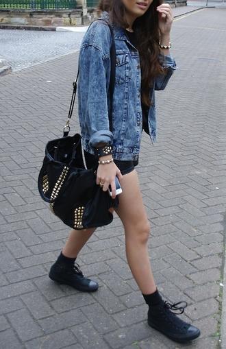 bag tumblr girl studded timberlands denim jacket