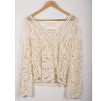 Amazon.com: Semi Sexy Sheer Sleeve Embroidery Floral Lace Crochet Tee Top T shirt Vintage: Clothing