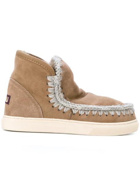 Mou women booties wool brown shoes