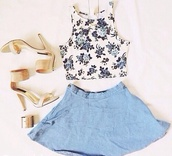 blouse,floral,floral tank top,crop tops,shirt,summer,purple,white,denim skirt,skater skirt,skirt,hipster,heels,gold heels,cute,chic,ootd,outfit,clothes,jewels,blue,denim,shoes