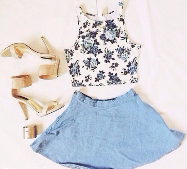 blouse floral floral tank top crop tops crop tops shirt summer purple white denim skirt skater skirt skirt hipster heels gold heels cute chic ootd outfit clothes jewels blue denim shoes