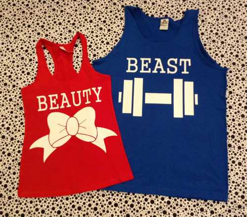 Beauty and the beast couples tank top and or tshirt set