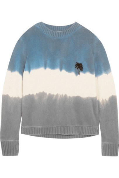 The Elder Statesman - Embroidered Tie-dyed Cashmere Sweater - Blue
