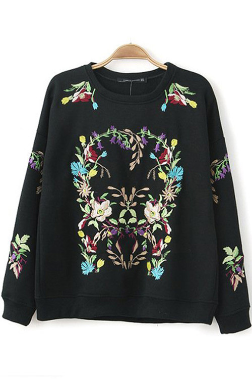 Embroidery Flowers Pullover in Black [FOBK00241] - PersunMall.com