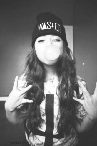 hat beanie black beanie wasted long hair cross t-shirt cross t-shirt swag black shirt colorful shirt tumblr tumblr girl tie dye upside down cross wasted youth it girl shop grunge soft grunge girl hippie instagram urban gum style