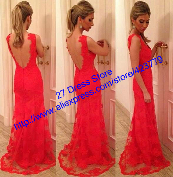 Aliexpress.com : Buy vestido de festa longo Elegant V neck With Sheer Open Back Long Red Evening Dress Sleeveless Lace Prom Dresses from Reliable dress designs for weddings suppliers on 27 Dress