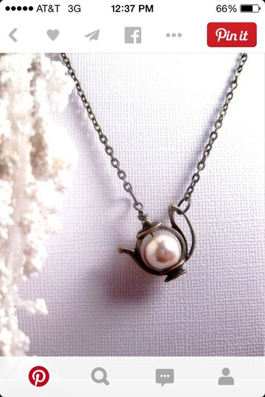 necklace jewels teapot pearl