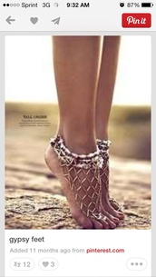 shoes,anklet,gypsy,chain
