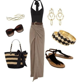 skirt shirt blouse slit skirt long long skirt beige sexy open