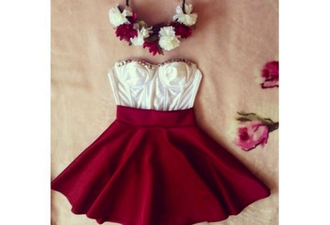 skirt studded red dress red white dress white red skater skirt flowers cute dress cute dresses mini dress mini skirt skater skirt crop tops white crop tops studded crop top bustier white bustier shirt hat top dress