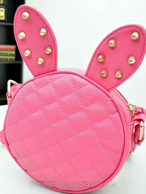 Fuchsia Rivet Embellished Diamond Pattern Cross Body Bag - HandpickLook.com