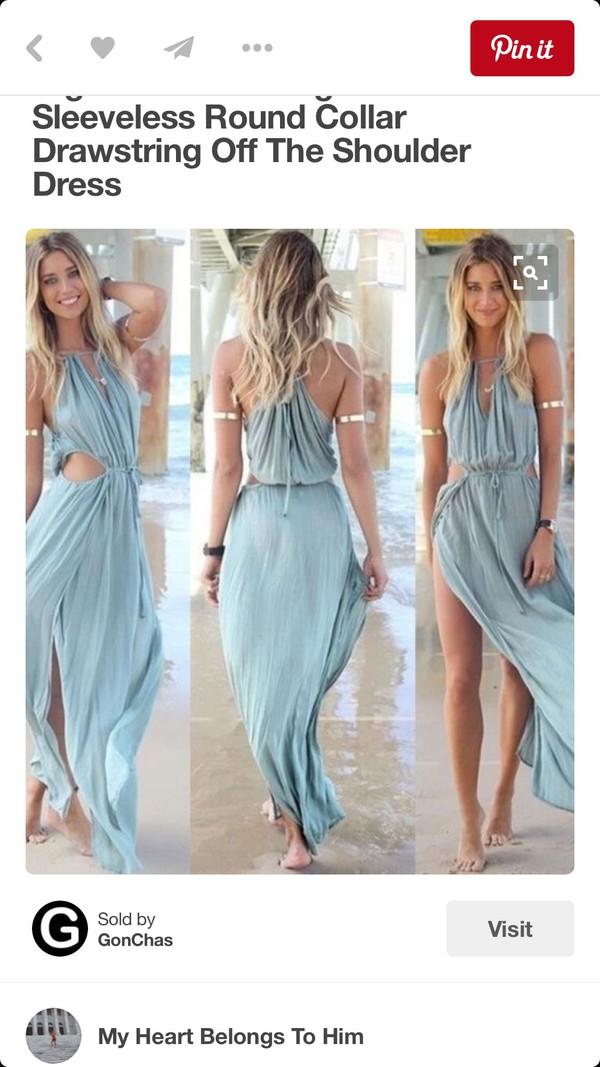 34432d1f45d53 dress sleeveless round collar drawstring off the shoulder.