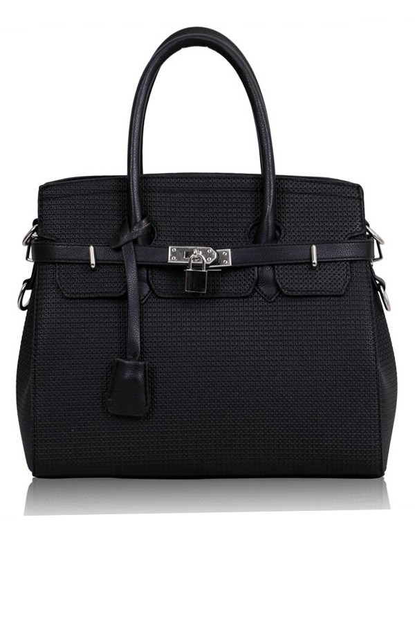 Black tiffany padlock tote bag